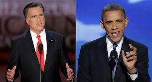 Mitt Romney(l) and Barack Obama(r)