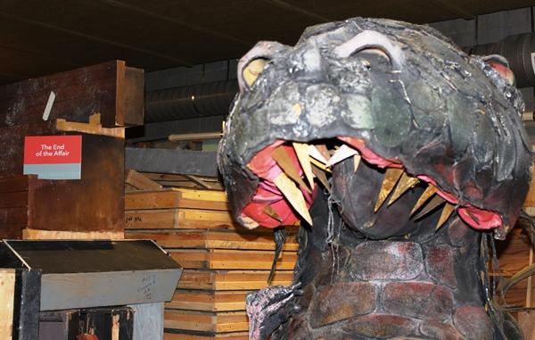 A dragon greets visitors as they step inside the set vault in the production building.