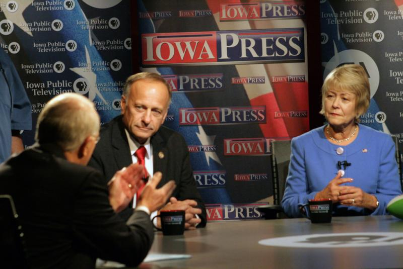 Rep. Steve King and challenger Christie Vilsack at a debate Oct. 25. Even in agriculture-heavy Iowa, neither campaign has focused much on farm policy.