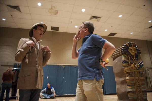 Ron Megee (at left) takes a note on his character, Lord Edgar, with Director Tom Aulino in between rehearsing scenes.