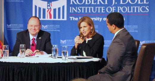 Schlingensiepen (left) and Jenkins during a recent debate in Lawrence.