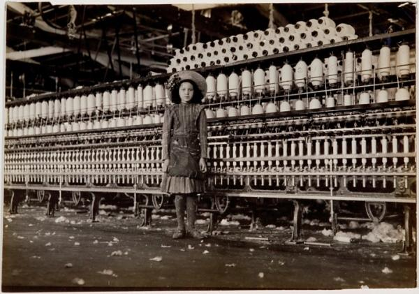"Lewis Wickes Hine, ""Young Girl in Textile Factory,"" 1910. gelatin silver print"