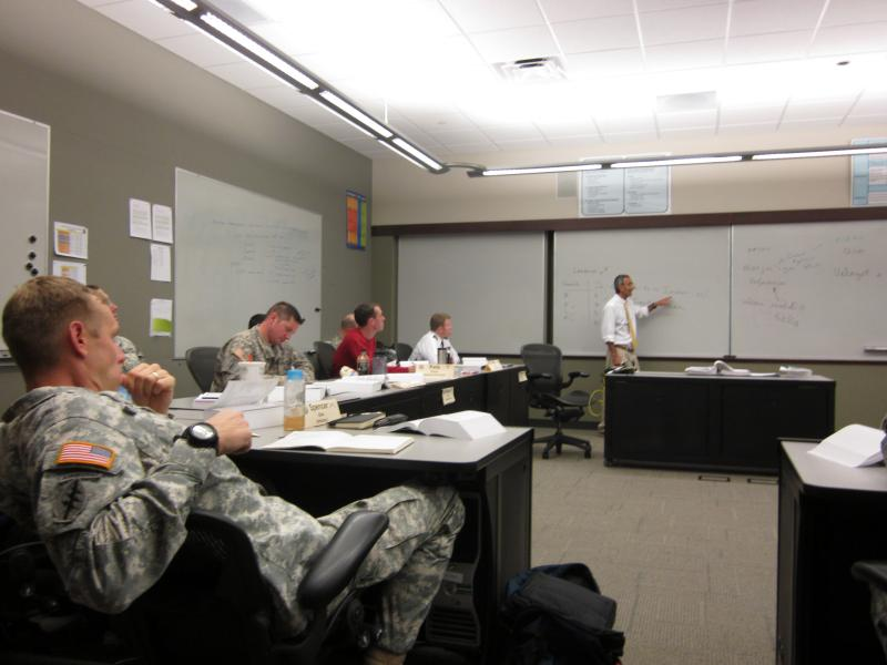 Dr. Raj Bhala teaching officers at Fort Leavenworth.
