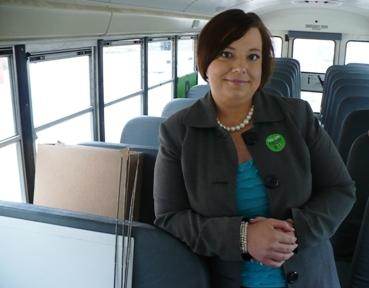 Misty Snodgrass, with the American Cancer Society, has been traveling the state in a school bus, in support of a measure that would raise the state's tobacco tax and direct revenue to schools.