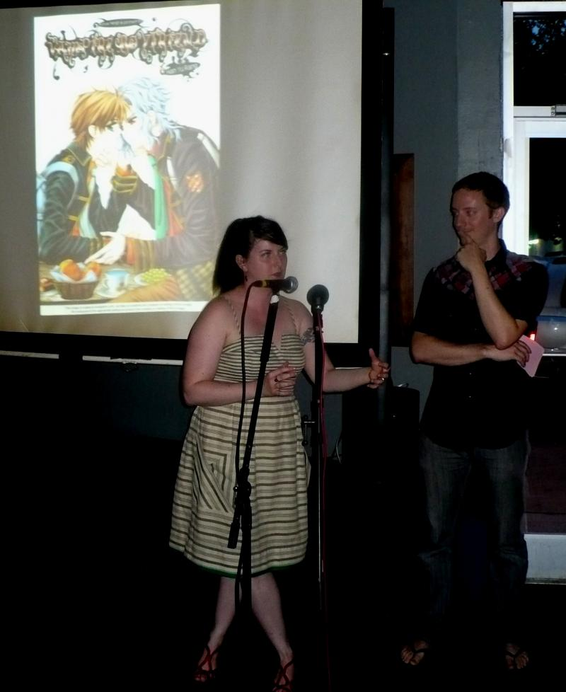 Melissa Lenos and Jason Kovac at Nerd Nite KC last April at Minibar.