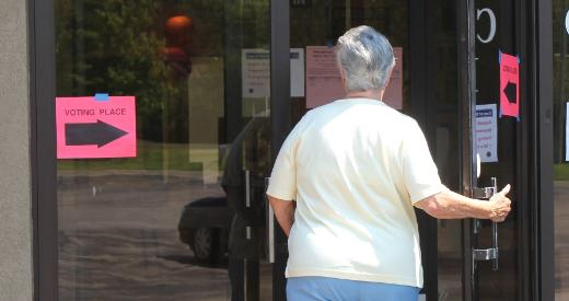 A voter in Topeka enters a polling place during a recent special election.
