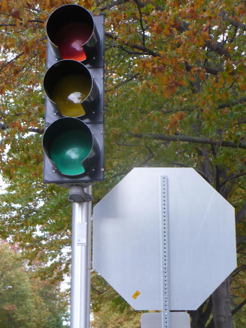Stop light at Meyer and Main.