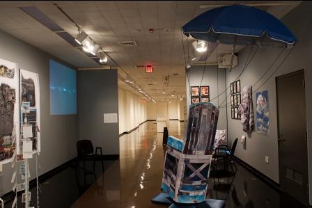 A tableau addressing health care for veterans in The Drop-In/Pop-Up Waiting Room Project at Spencer Museum of Art.