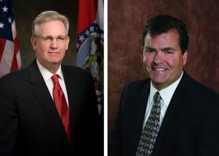 Missouri Gov. Jay Nixon, left, defeated Dave Spence, right, in the Mo. governor's race Tuesday.