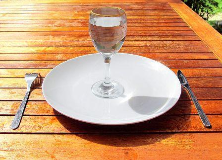 Glass of water on an empty plate
