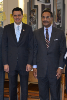 U.S. Representatives Kevin Yoder (left)  and Emanuel Cleaver were recent recipients of the Consensus Civility Award.