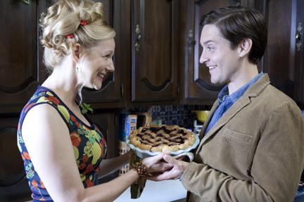Laura Linney being overly neighborly to Toby Maguire in 'The Details.'