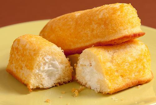"Twinkies, a snack cake marketed as a ""Golden Sponge Cake with Creamy Filling"""