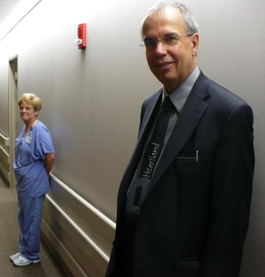 Dr. Scott Folk (r) met with him, sent a blood sample to the CDC, leading to the discovery of a new virus.(Faye Eckert, pictured left, has been involved in trying to find other patients who might have the virus).).