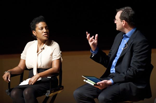 Joy Bailey Bryant, Principal Consultant, Lord Cultural Resources and  Peter Witte, Dean, Conservatory of Music and Dance, at UMKC, discuss the importance of arts and culture in schools at CityAge, New American City Conference held at the Kauffman Center.