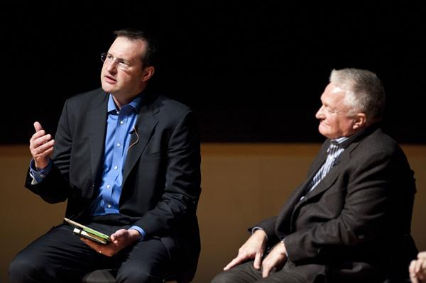 Peter Witte, Dean, Conservatory of Music and Dance, at UMKC, (from left) and  Jim Wright, Director, Opera America, the importance of culture in creating resilient communities at CityAge, New American City Conference held at the Kauffman Center.