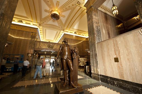 George Washington greets visitors in the lobby.