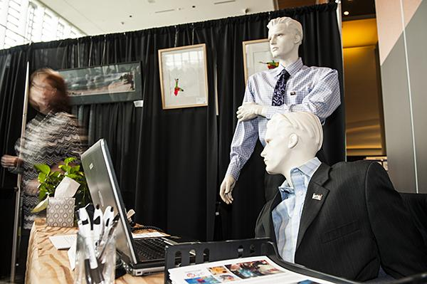 "Mannequins decorate the ArtsKC booth to promote the organization's ""Now Showing"" program that helps artists display their work in area businesses."