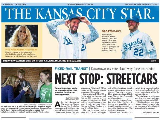 Kansas City Star December 13 front page
