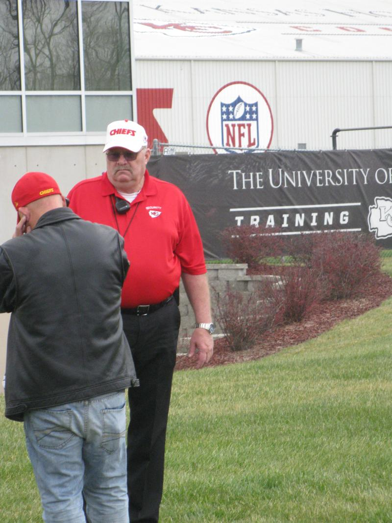 Chiefs officials outside the training facility where Linebacker Jovan Belcher committed suicide this morning.