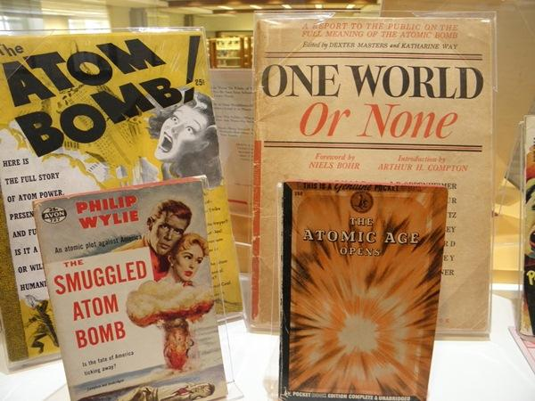 Books on display at the exhibit  'Alert Today, Alive Tomorrow' at the Kansas City Public Library Central Branch.
