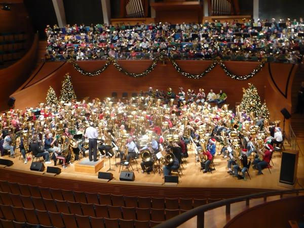 Over 300 tuba players fill Helzberg Hall at The Kauffman Center with holiday tunes.
