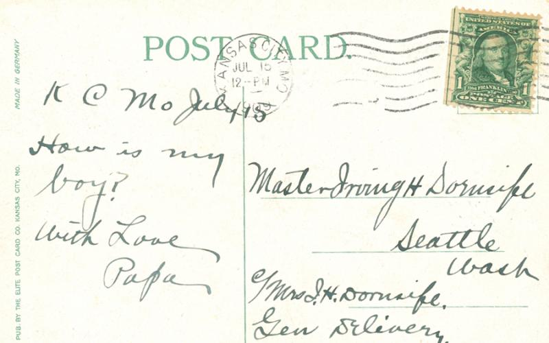 "Early postcards reflected a clipped writing style with short sentences and a variety of topics.  The style became known as ""postcardese."""