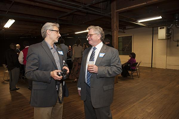 Porter Arneill, Public Art Administrator speaks with Michael Grimaldi, of the Trozzolo Communications Group.