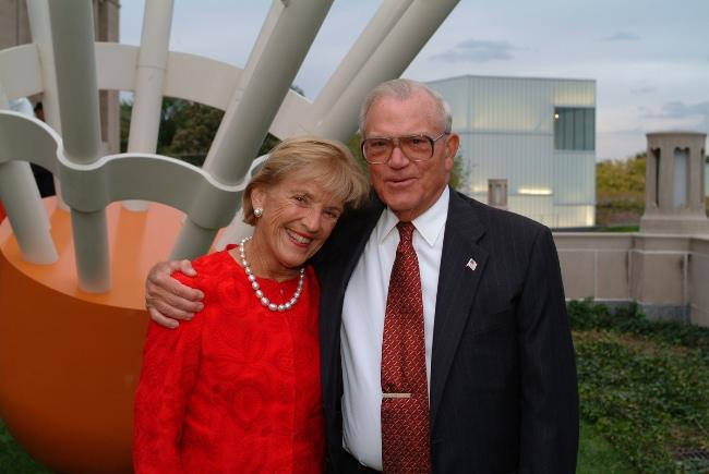 Adele and Don Hall outside the museum.