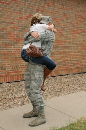 An airman with the Kansas National Guard's 117th Air Refueling Squadron returned home after a deployment with CENTCOM.