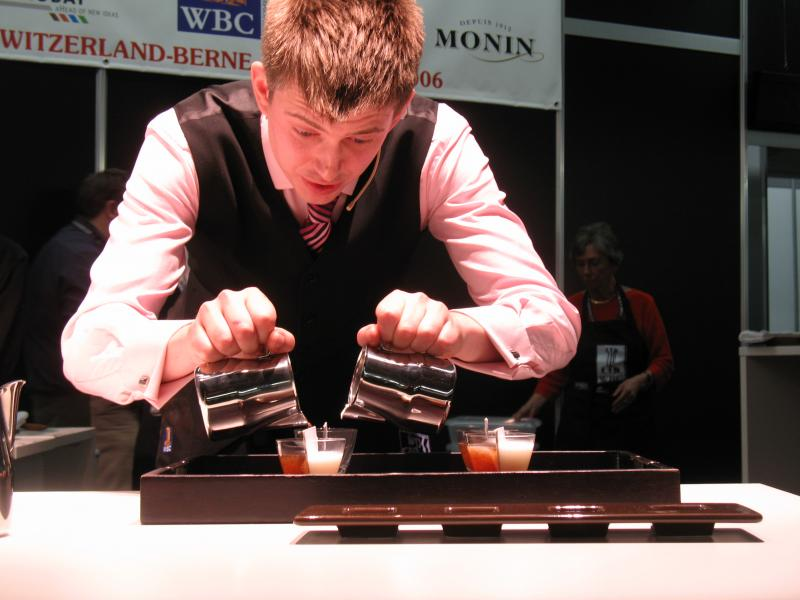 A barista competes at the World Barista Championships.