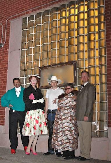 "Cast of ""An Otherwise Hopeless Evening"" outside the Jewel Box"