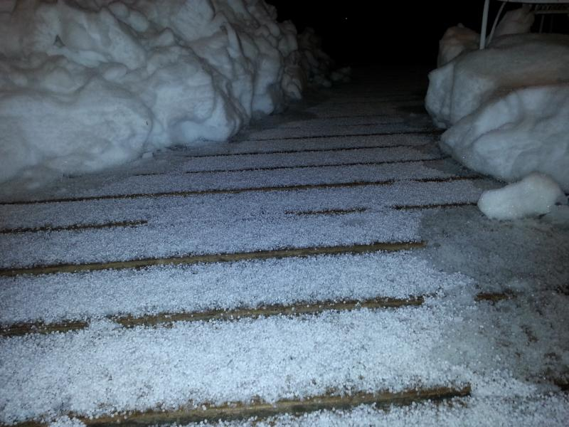 Ice and snow in South Kansas City, Mo. as of 8:49 p.m.