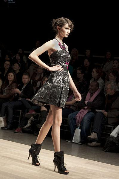 A model walks at fashion week in Toronto.