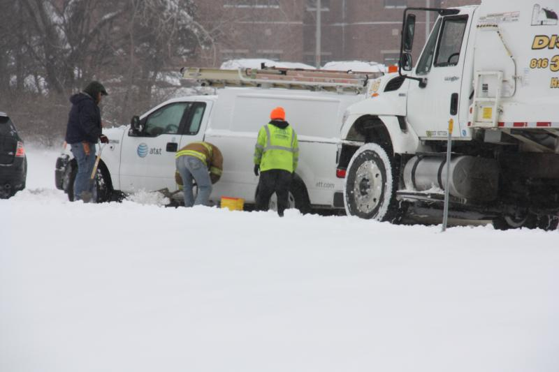 Unplowed streets throughout the day made it difficult for service vehicles as well as cars.