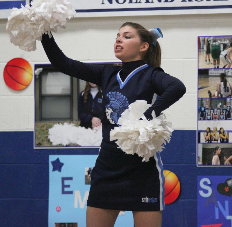 Emily Echlin cheers at one of St. Mary's final basketball games.