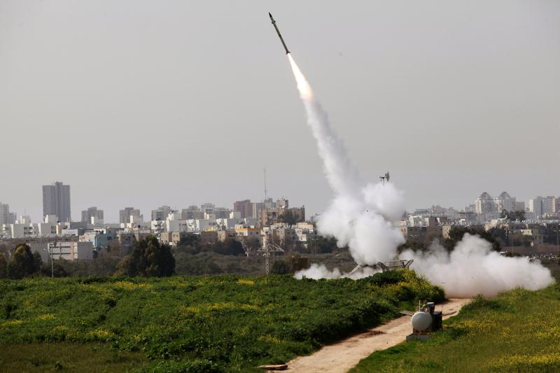 Iron Dome Defense System at work, March 2012. This is the missile blocking mechanism developed in Israel to counter rockets fired from Gaza into Israel.