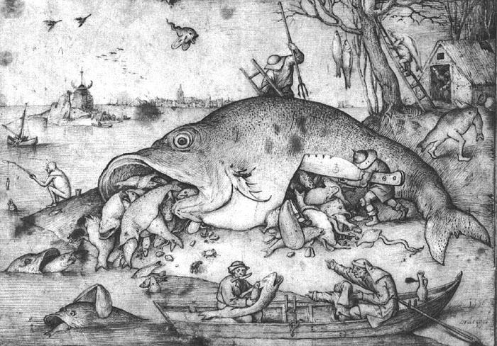 The Big Fish Eat the Little Fish, published 1557