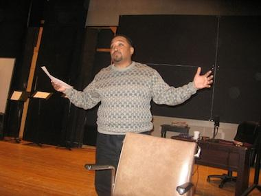 """Portland, Oregon-based actor Bobby Bermea at a """"Waiting for You"""" rehearsal"""