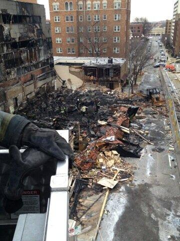 Mayor Sly James tweeted this aerial view of JJ's site from the bucket of truck 6.