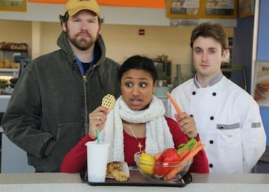 UMKC theater students Logan Black, Alisha Espinosa, and Jamie Dufault play a farmer, a conflicted eater, and a chef.