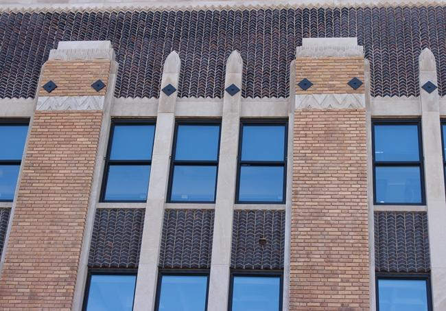 A close-up of details of the Art Deco architecture of the Vitagraph building. Renovations were completed in 2010.