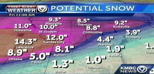 Potential snowfall by Friday at 11 a.m.
