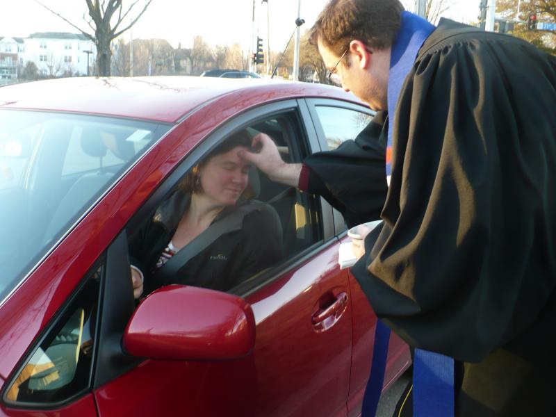 Commuter receives ashes.