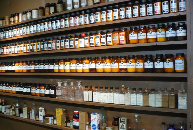 Dr. Hodges has collected more than 100 antique apothecary jars, many of which contain the original contents.