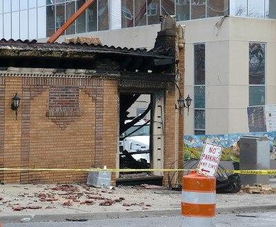 The site of JJ's after last week's deadly explosion.