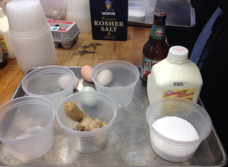 Some of the ingredients that will go into the sausages include ginger, cream, eggs, salt and beer.