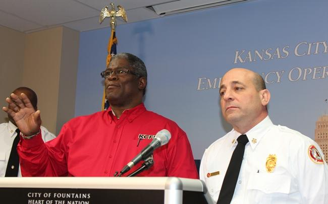 Mayor Sly James and Kansas City Fire Chief Paul Berardi at the morning press conference.