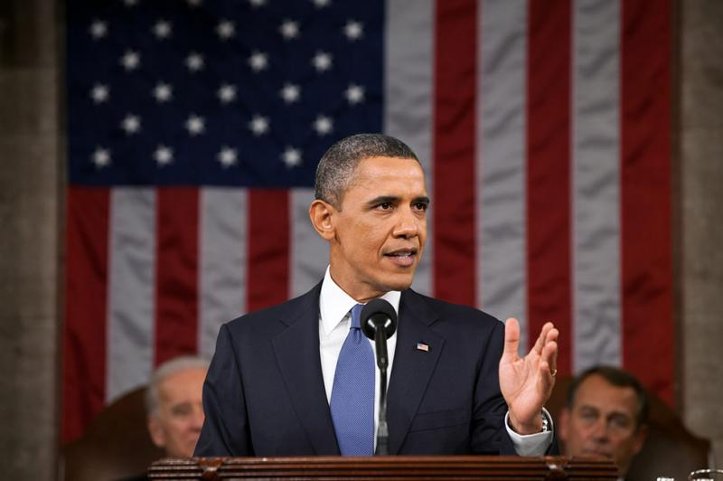 President Barack Obama delivering the 2012 State of the Union