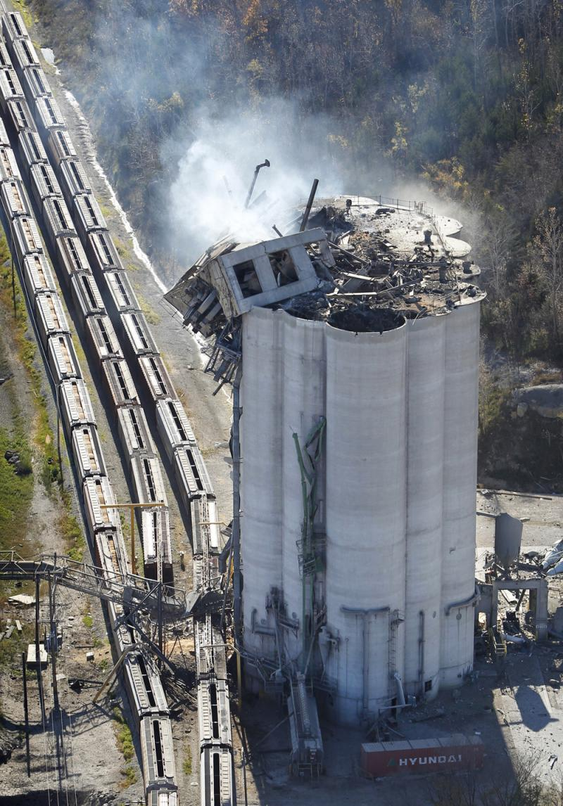 The Bartlett grain elevator in Atchison, Kan., exploded, killing six on Oct. 29, 2011.